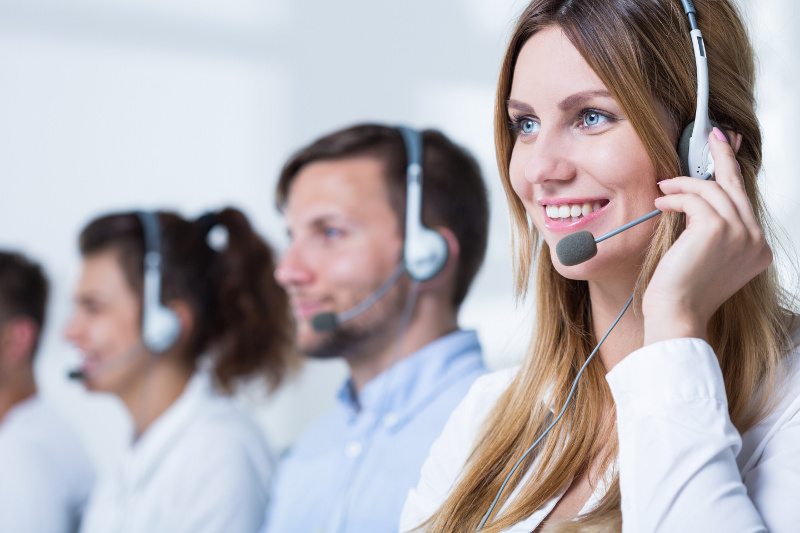 Smiling Customer Service Representative on Headset